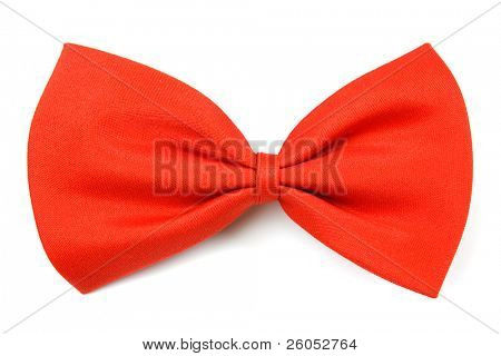 Classic red bowtie isolated on white background