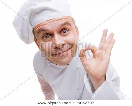 Del hombre en chef uniforme aislado sobre fondo blanco
