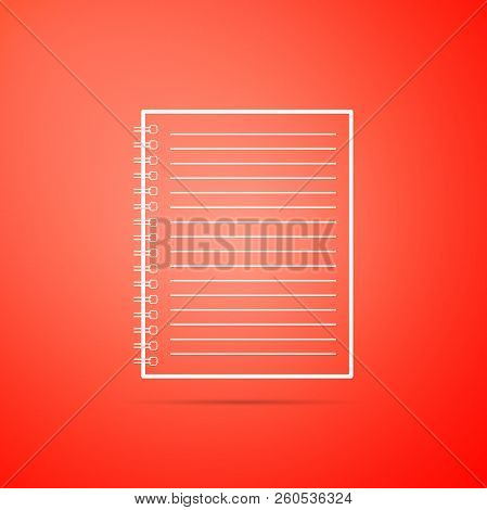 Notebook Icon Isolated On Orange Background. Spiral Notepad Icon. School Notebook. Writing Pad. Diar