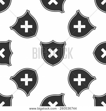 Shield And Cross X Mark Isolated Icon Seamless Pattern On White Background. Denied Disapproved Sign.
