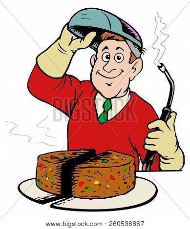 Cutting The Fruitcake.  Humor With A Cutting Torch. Seasonal Cartoon