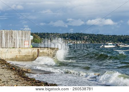 Boats Are Anchored At Three Tree Point In Burien, Washington On A Windy Day.