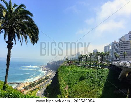 The Beautiful Views Of Lima, Peru, Looking Out On The Pacific Ocean From The Miraflores Boardwalk.