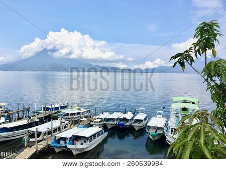 Lake Atitlan, Guatemala - May 20th, 2018: A Spectacular View Of Lake Atitlan On A Beautiful Day In M