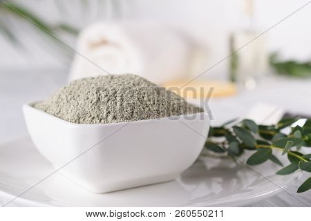 Dead Sea Mud Mask, Moroccan Clay Powder, Beauty Products Ingredients On White Background.