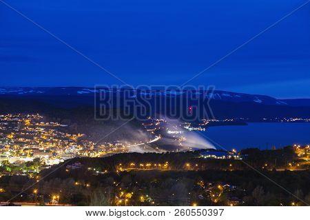 Corner Brook At Night. Corner Brook, Newfoundland And Labrador, Canada.