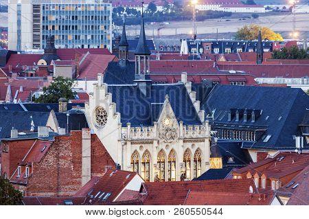 Panorama Of Erfurt With City Hall. Erfurt, Thuringia, Germany.