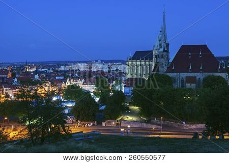 Panorama Of Erfurt With St Mary Cathedral At Evening. Erfurt, Thuringia, Germany.