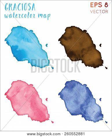 Graciosa Watercolor Island Map. Handpainted Watercolor Graciosa Map Set. Vector Illustration.