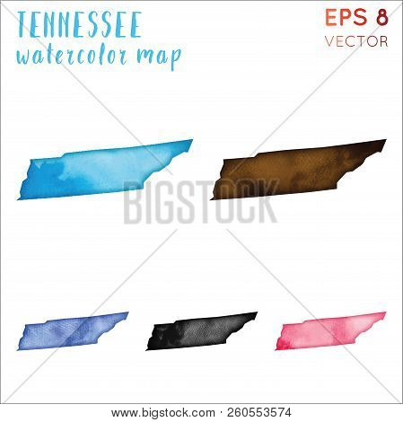 Tennessee Watercolor Us State Map. Handpainted Watercolor Tennessee Map Set. Vector Illustration.
