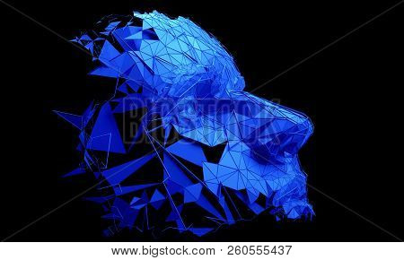 Polygonal Human Face. 3d Illustration Of A Cyborg Head Construction. Artificial Intelligence Concept