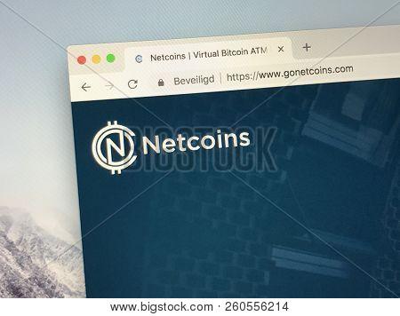 Amsterdam, The Netherlands - September 27, 2018: Website Of Netcoins, A Virtual Bitcoin Atm.