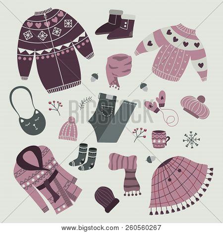 Set Of Stylish Winter Clothes. Cardigan And Coat, Snow Boots And Socks, Scarf And Mittens, Poncho An