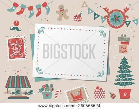 Christmas Decorative Card, Border, Frame With Christmas Tree And Festive Decorations Garland, Sock,