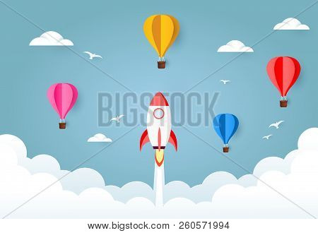 Rocket Launch An Colorful Air Balloon. Start Up Rocket Project Concept. Concept Of Business Start-up