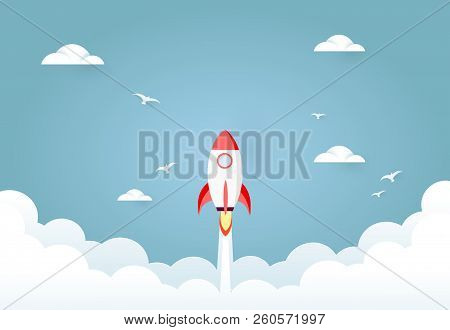 Start Up Rocket Project Concept. Concept Of Business Start-up, Boost Or Success. Paper Art