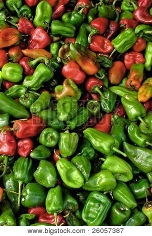 lots of red and green peppers