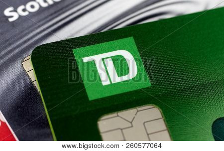Montreal, Canada - September 21, 2018: Td Bank Credit Cards, Close-up Picture. The Toronto Dominion