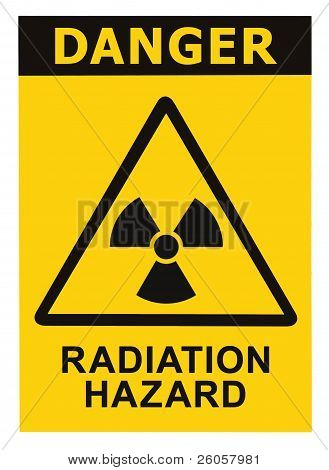 Radiation Hazard Symbol Sign Radhaz Threat Alert Icon, Black Yellow Triangle Signage Text Isolated