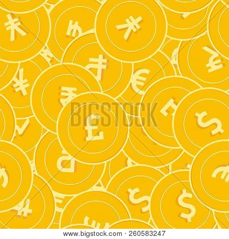 International Currencies Coins Seamless Pattern. Beautiful Scattered Global Coins. Big Win Or Succes