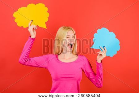 Winking Woman Holds Speech Bubbles Icon. Happy Girl Holds Empty Speech Bubbles. Cheerful Female Stud