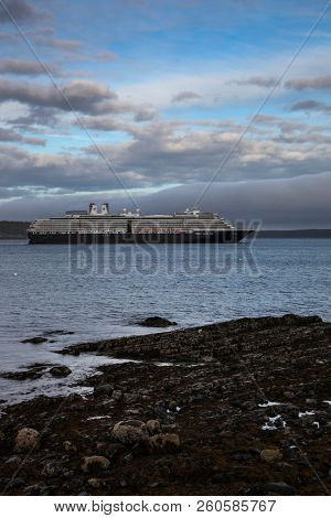 BAR HARBOR, MAINE, USA. October 13, 2016:  Bar Harbor  with docking cruise ship Zuiderdam from Holland American Line  with early afternoon lights during Autumn season.