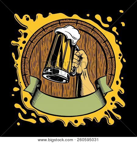 Beer Logo Bar Or Pub Vintage Isolated Label Vector Illustration. Brewing Beer Logo Company Symbols.