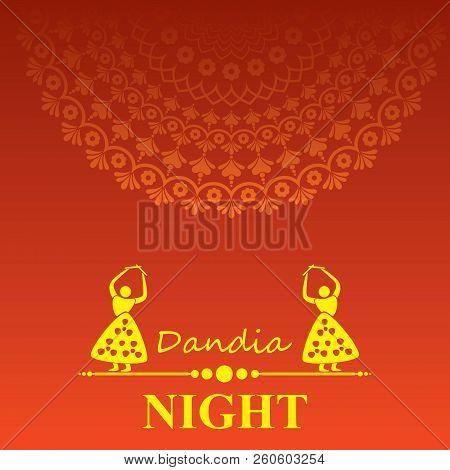 Illustration Of Navratri And Garba Utsav Greeting Card Stock Vector