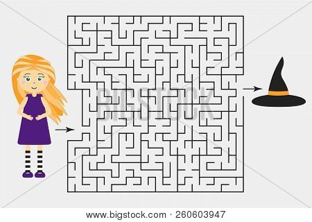 Halloween Labyrinth Game, Help The Witch To Find A Way Out Of The Maze, Cute Cartoon Character, Pres
