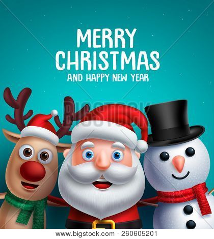 Christmas Characters Vector Illustration And Merry Christmas Greeting. Santa Claus, Reindeer And Sno