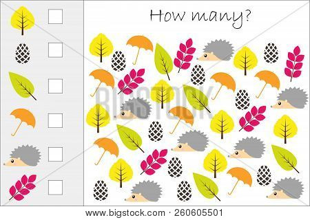 How Many Counting Game With Autumn Pictures For Kids, Educational Maths Task For The Development Of