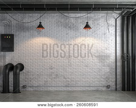 Industrial Loft Style Empty Room With White Brick Wall 3d Render,there Are White Brick Wall And Poli