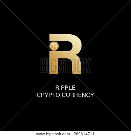 Ripple. Capital Letter R And Symbol Of A Physical Coin. Gold Sign Of Crypto Currency On A Dark Backg