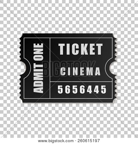 Realistic Black Cinema Ticket Isolated Object On Transparent Background. Cinema, Theater, Concert, M