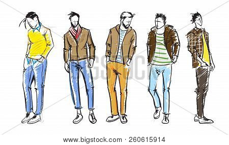Fashion Man. Fashion Men Sketches On A White Background. Autumn Men.