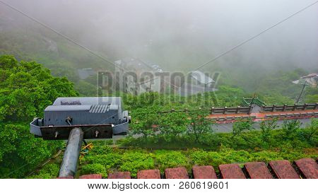 View Form Jinfun Old Street With Beautiful Mist In Rainy Day,new Taipei City Taiwan