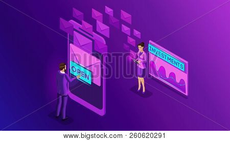Isometric Business Men And Business Women Look Email Inbox Electronic A Smartphone. Communication. E