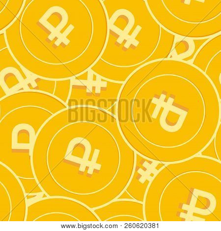 Russian Ruble Coins Seamless Pattern. Cute Scattered Rub Coins. Big Win Or Success Concept. Russia B