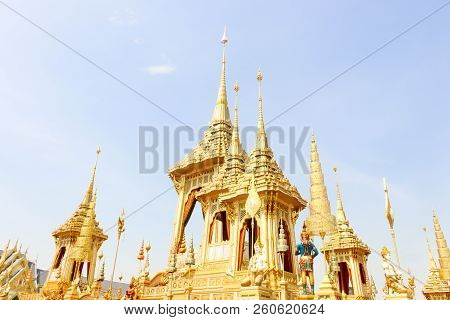 Bangkok, Thailand - November 04, 2017; Golden Of Royal Crematorium For King Bhumibol Adulyadej  At N