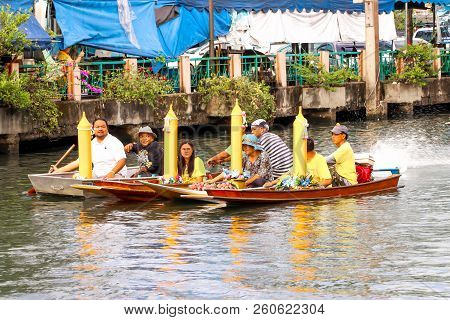 Samutsakorn, Thailand - July 27, Close Up Boat Parades In Boat Traditional Of Candles To Temple At K