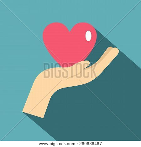 Hand Holding A Pink Heart Icon. Flat Illustration Of Hand Holding A Pink Heart Icon For Web Isolated