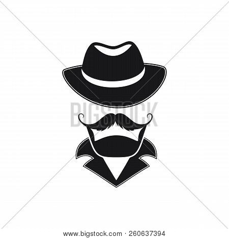Bearded Man With A Mustache In A Hat With Wide Brim.