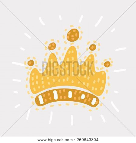Vectro cartoon illustration of pen childlike drawing of crown. Isolated funny object on white background. Modern concept. poster