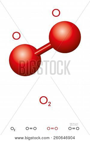 Oxygen, O2, Molecule Model And Chemical Formula. Also Dioxygen, Diatomic Or Molecular Oxygen. Ball-a