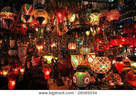 Turkish lanterns on the Grand Bazaar in Istanbul, Turkey