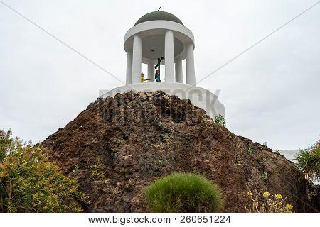 Puerto De La Cruz, Spain - July 19, 2018: A Small Chapel Of The 18th Century - Tempel El Penon Del F