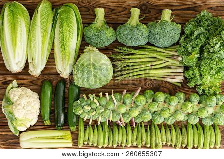 Full Frame Of Winter Vegetables On Market Table With
