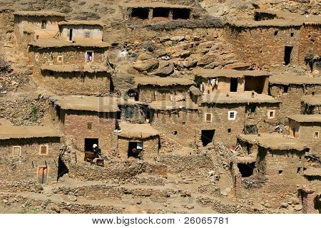 Slum - mountain village in Morocco