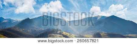 Panoramic Landscape Of Mountainous Countryside In Afternoon. Gorgeous Cloudscape Above The Ridge. Gr