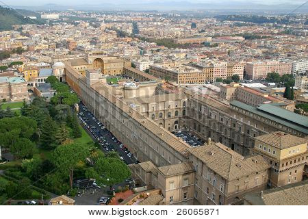 View on Vatican Gallery from the dome of Saint Peter's Basilica